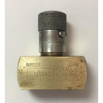 "PARKER BRASS 1/2"" NPT FLOW CONTROL NEEDLE VALVE N800B"